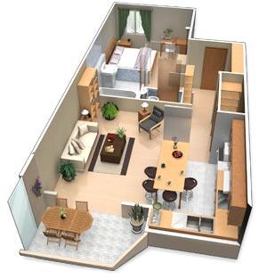 Mise en valeur et aide à la vente ou location grâce à des plans 3D d'aménagement intérieur